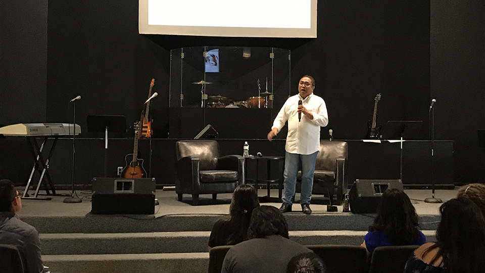 Rev. Calusay speaks to SAGU AIC students